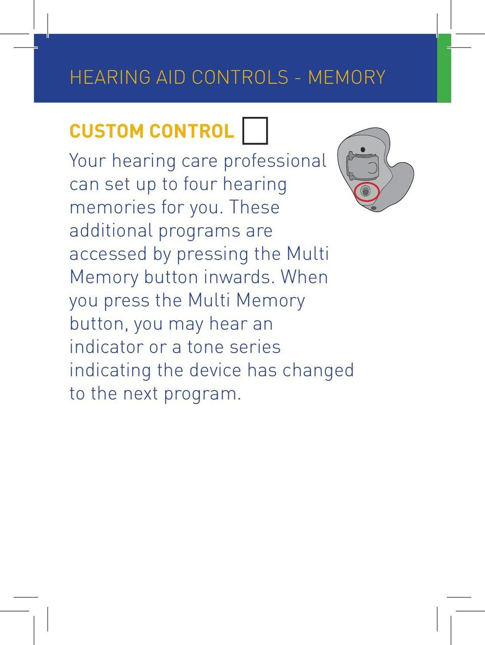 These additional programs are accessed by pressing the Multi Memory button inwards.