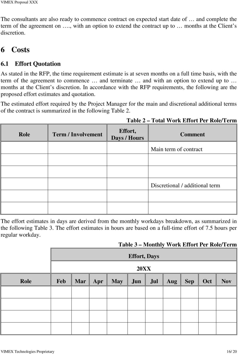 1 Effort Quotation As stated in the RFP, the time requirement estimate is at seven months on a full time basis, with the term of the agreement to commence and terminate and with an option to extend