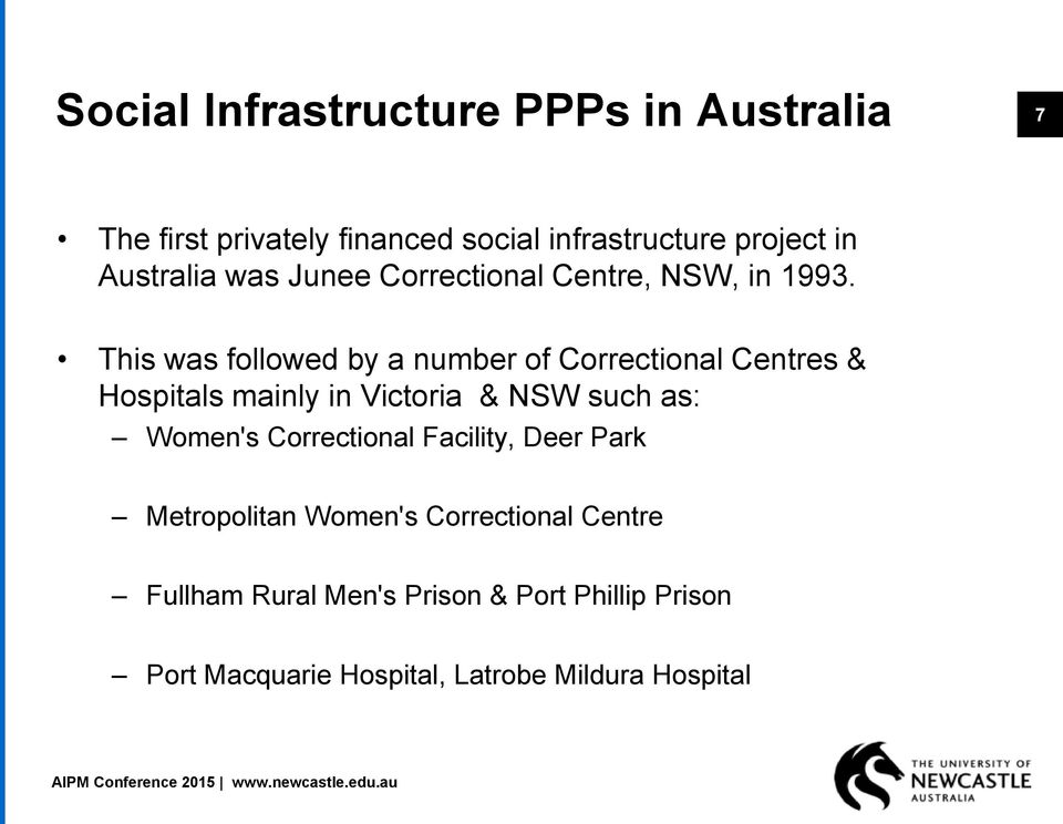 This was followed by a number of Correctional Centres & Hospitals mainly in Victoria & NSW such as: Women's