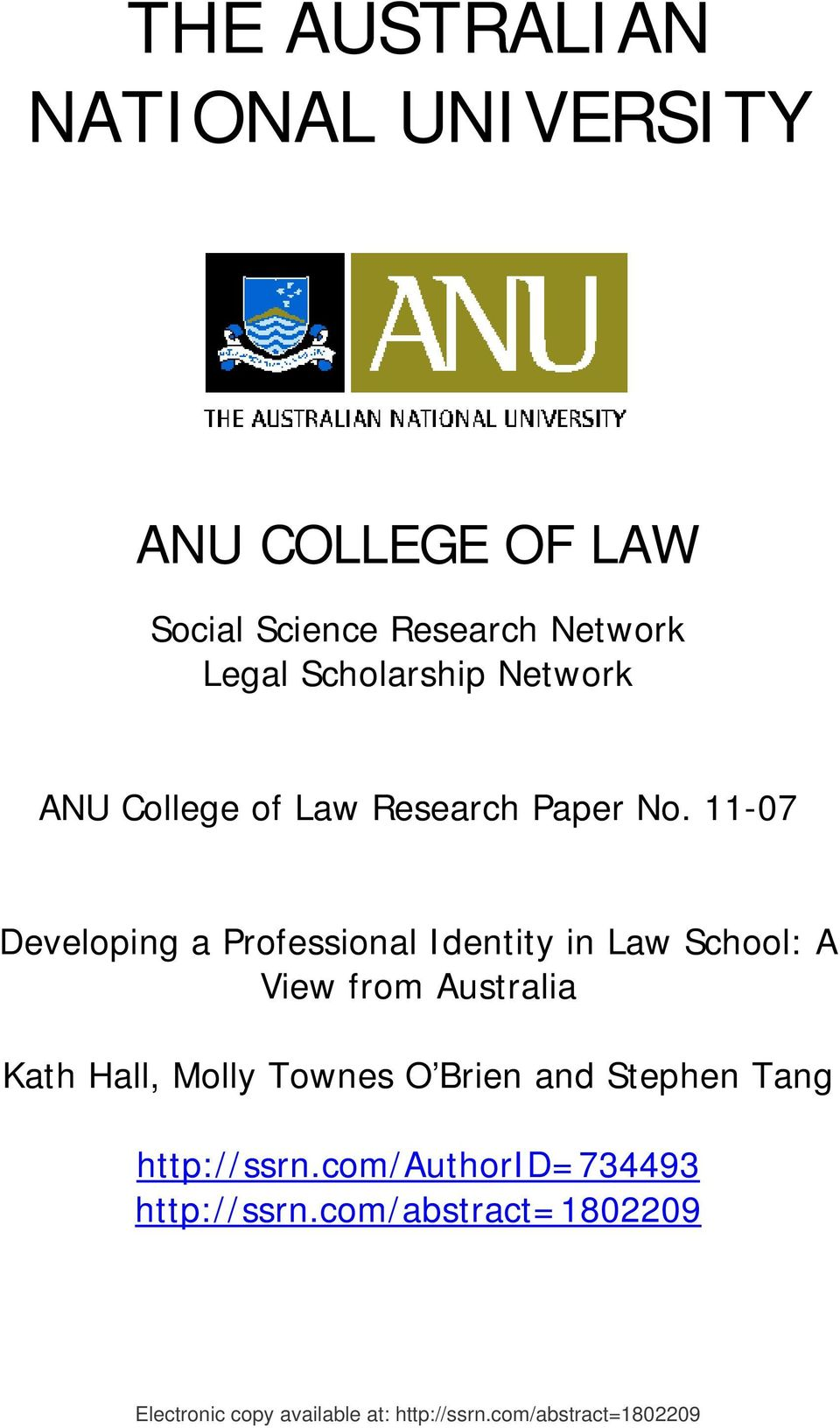 11-07 Developing a Professional Identity in Law School: A View from Australia Kath Hall, Molly