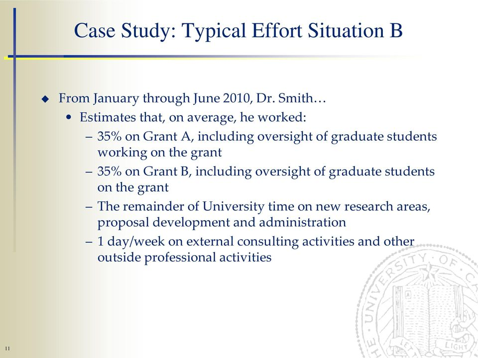 the grant 35% on Grant B, including oversight of graduate students on the grant The remainder of University time