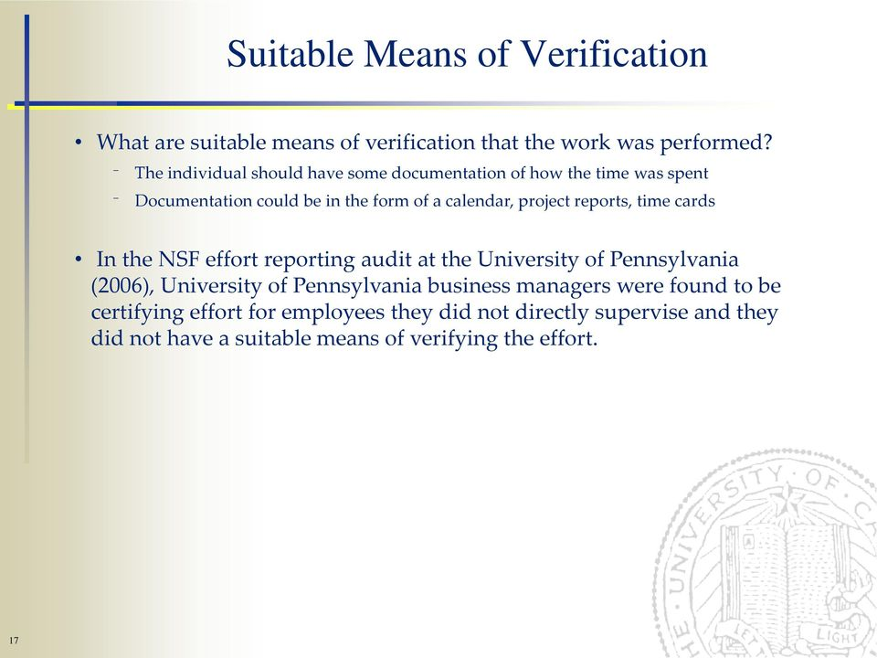 reports, time cards In the NSF effort reporting audit at the University of Pennsylvania (2006), University of Pennsylvania