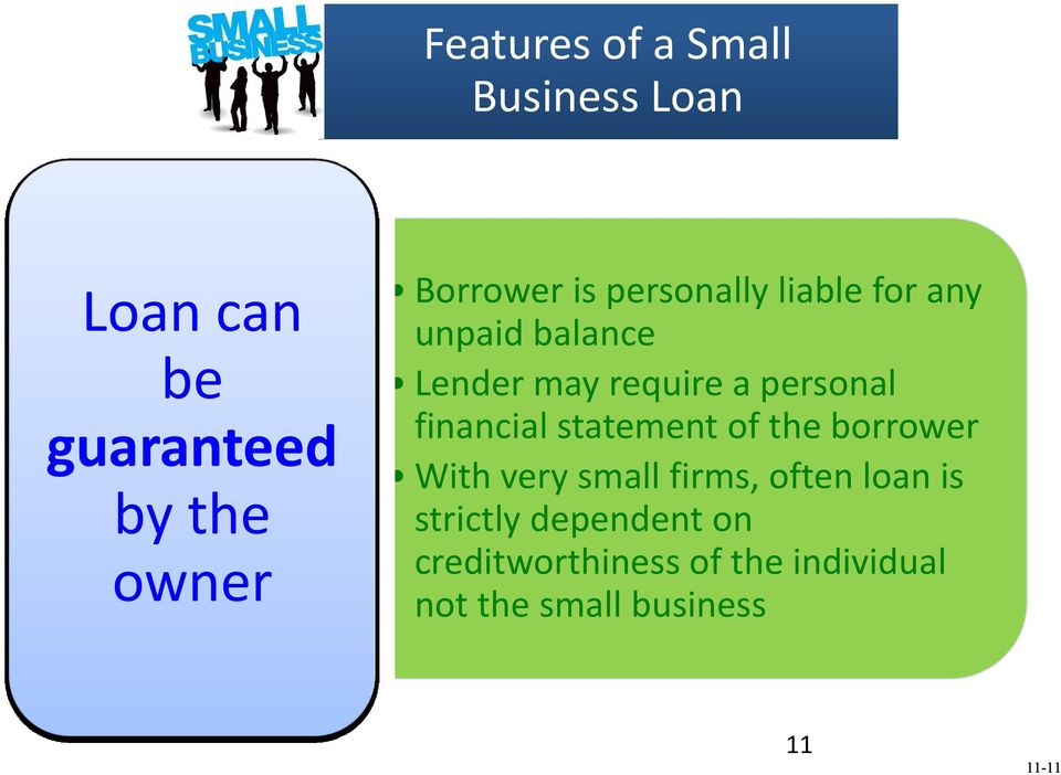 financial statement of the borrower With very small firms, often loan is