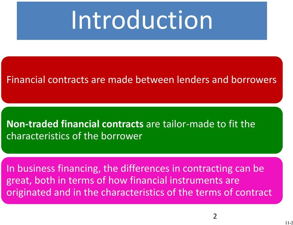 business financing, the differences in contracting can be great, both in terms of how