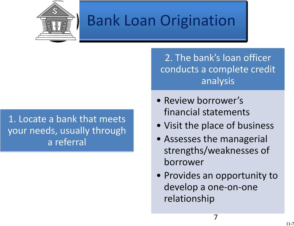 Locate a bank that meets your needs, usually through a referral Review borrower s