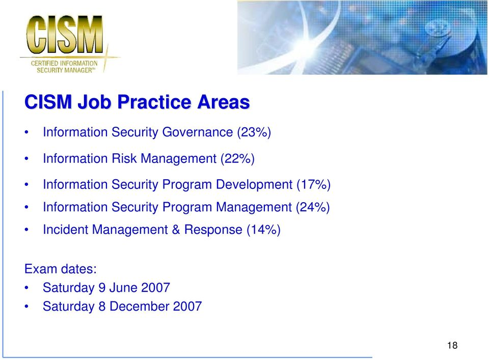 Development (17%) Information Security Program Management (24%)