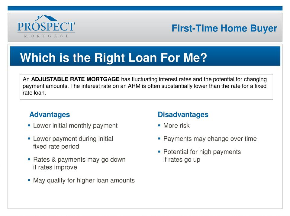 The interest rate on an ARM is often substantially lower than the rate for a fixed rate loan.