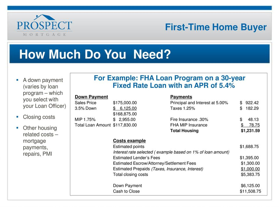 Program on a 30-year Fixed Rate Loan with an APR of 5.4% Down Payment Payments Sales Price $175,000.00 Principal and Interest at 5.00% $ 922.42 3.5% Down $ 6,125.00 Taxes 1.25% $ 182.29 $168,875.