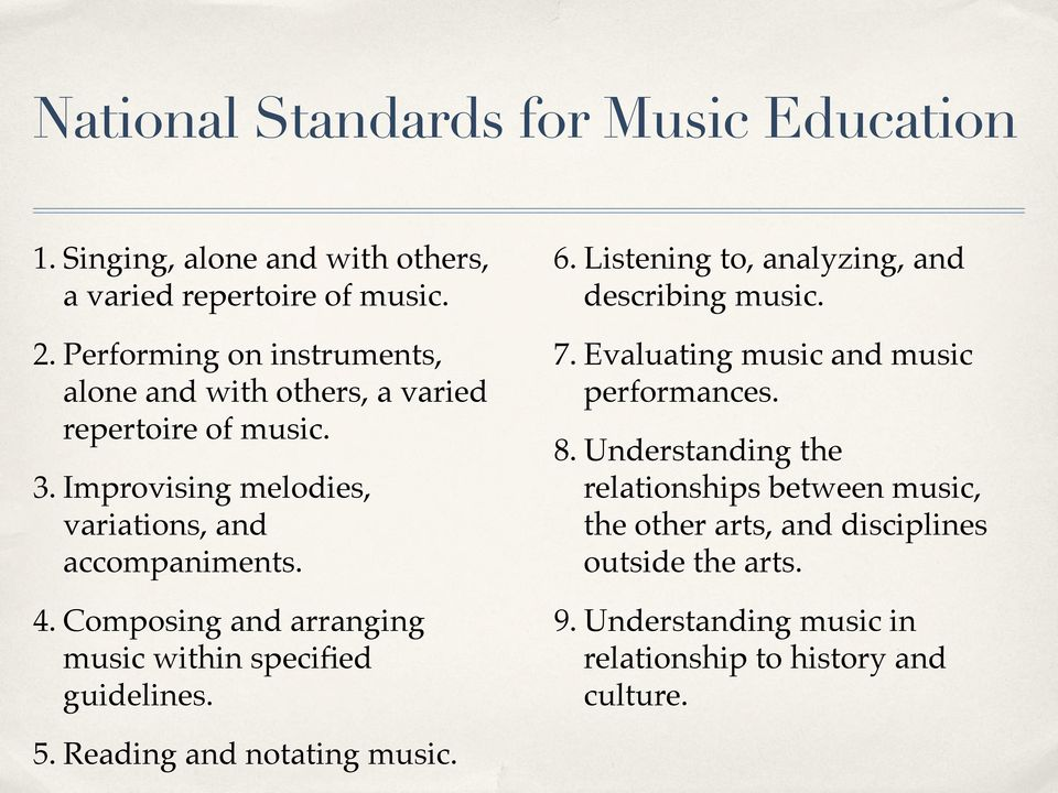 Composing and arranging music within specified guidelines. 6. Listening to, analyzing, and describing music. 7.