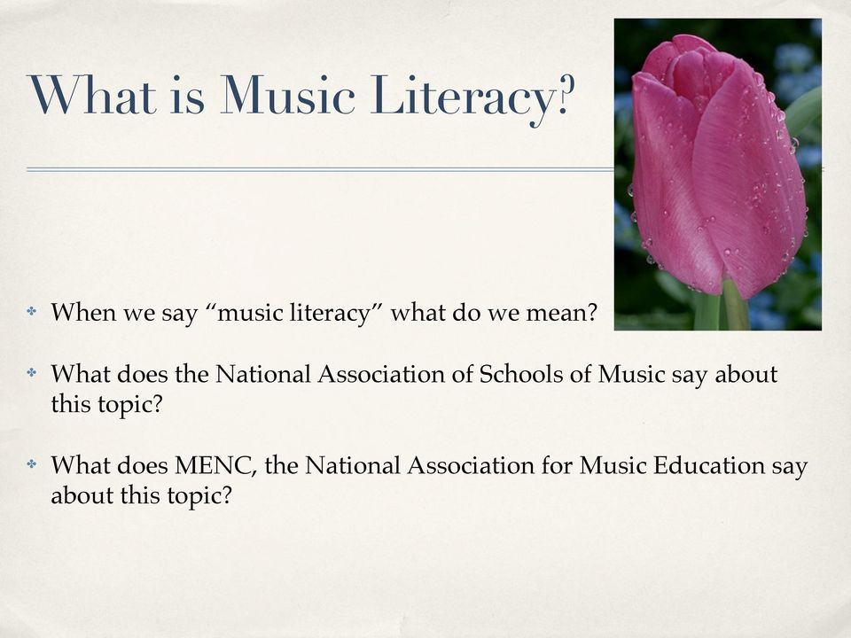 What does the National Association of Schools of Music