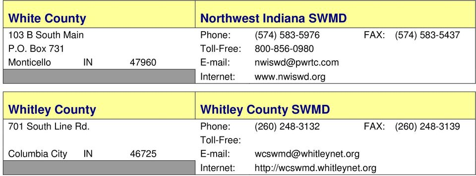 nwiswd.org Whitley County Whitley County SWMD 701 South Line Rd.