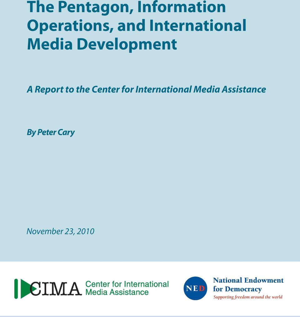 Report to the Center for International