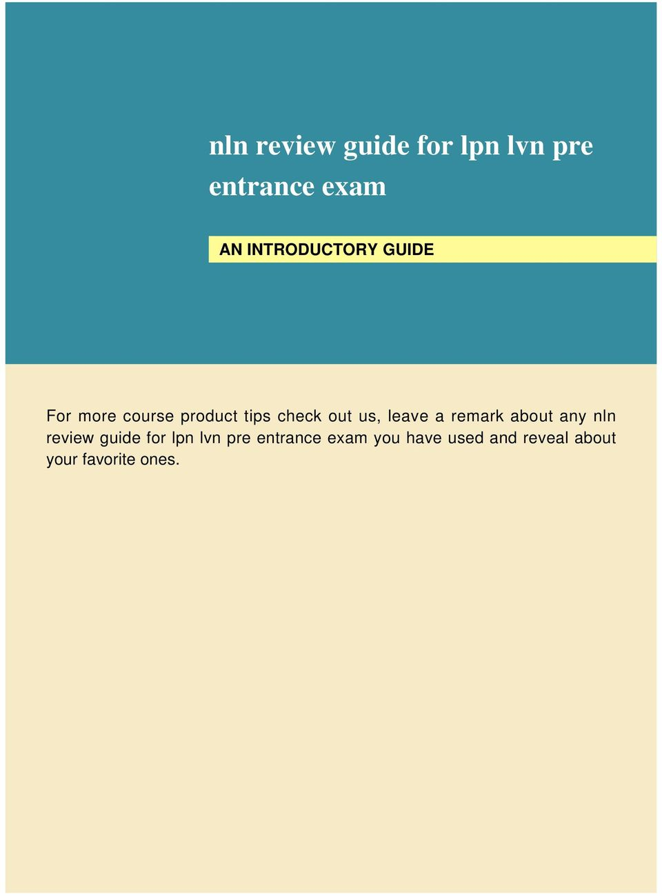 us, leave a remark about any nln review guide for lpn lvn