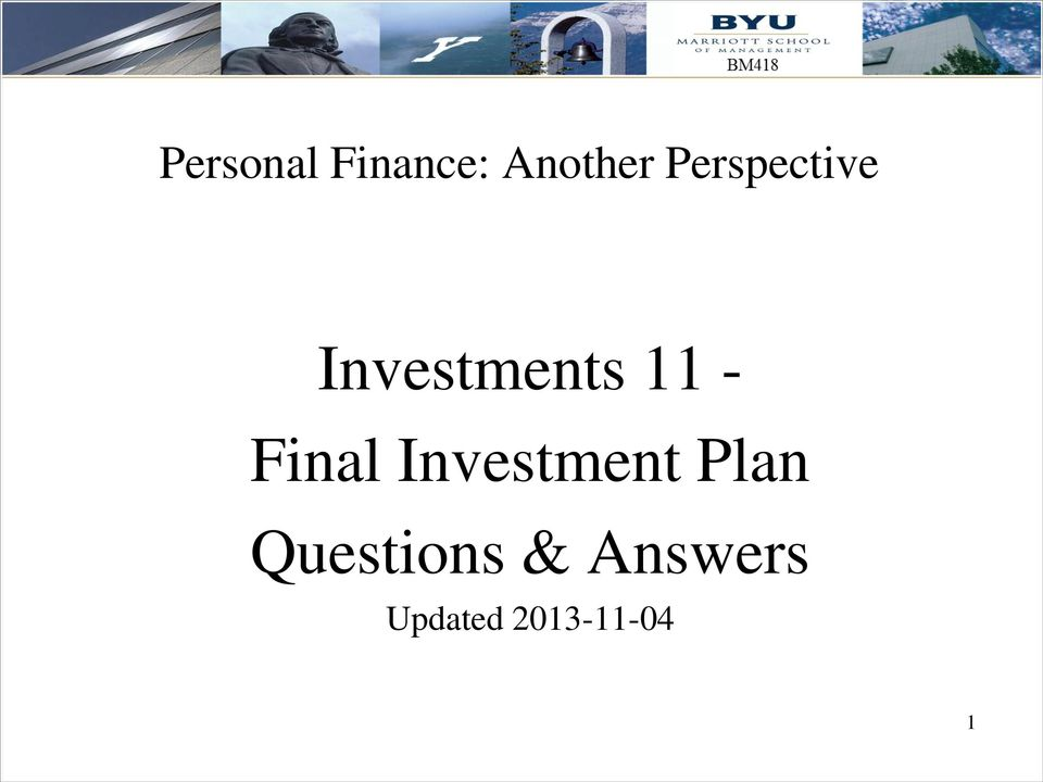 Final Investment Plan