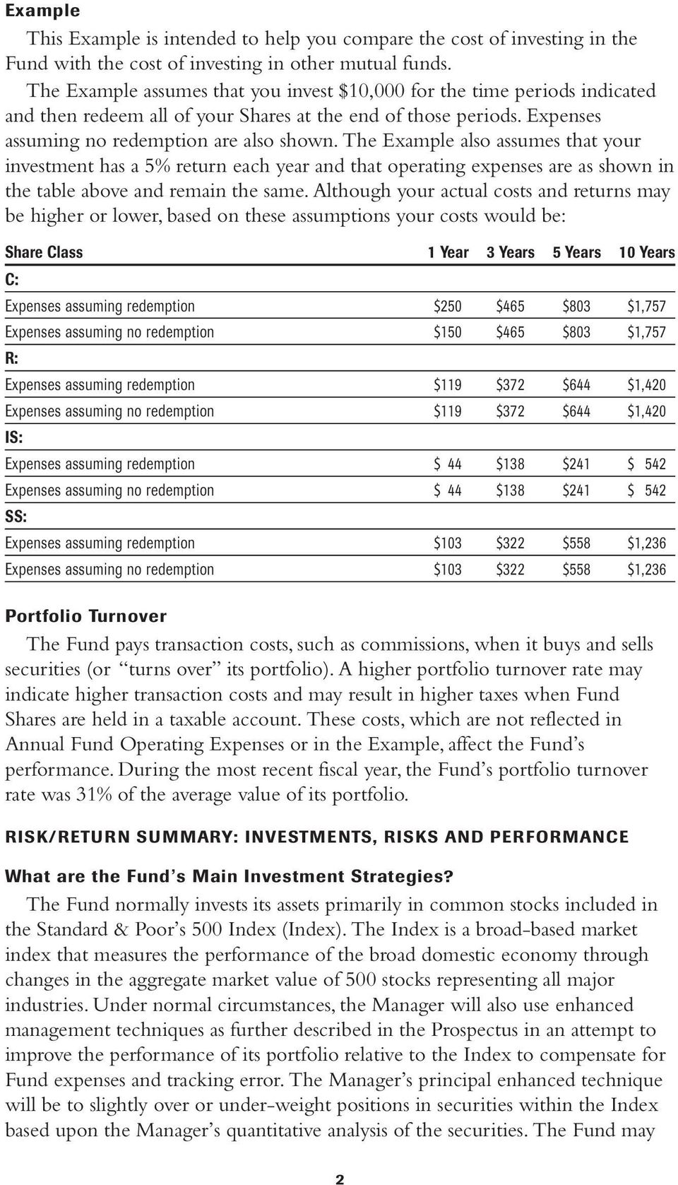 The Example also assumes that your investment has a 5% return each year and that operating expenses are as shown in the table above and remain the same.