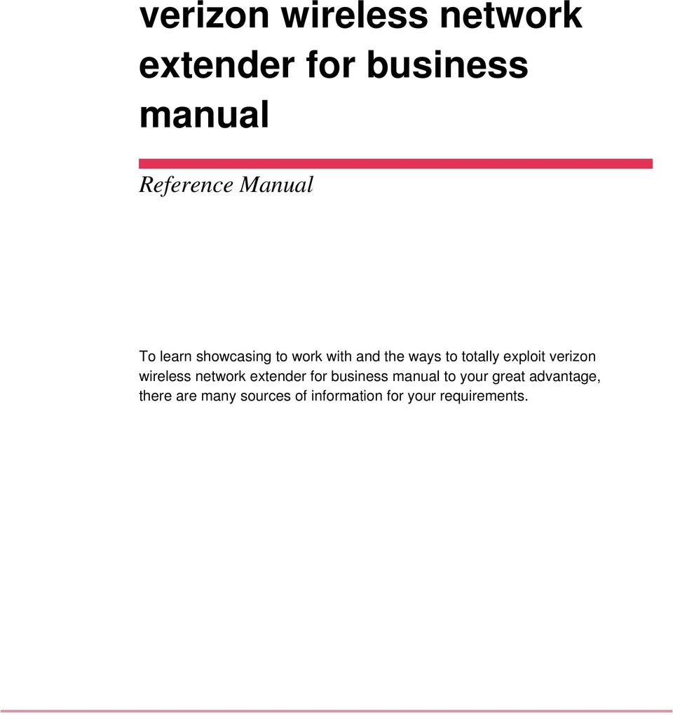exploit verizon wireless network extender for business manual to