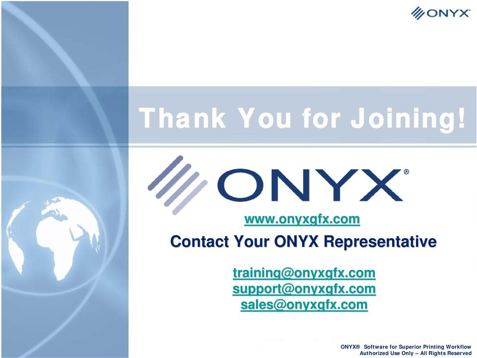 com Contact Your ONYX