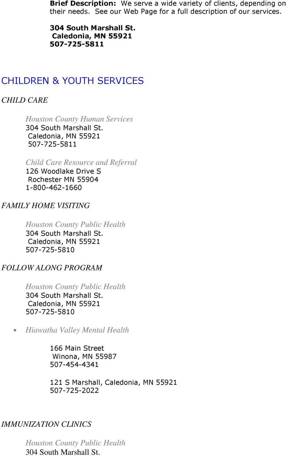 CHILDREN & YOUTH SERVICES CHILD CARE Houston County Human Services Child Care Resource and Referral 126