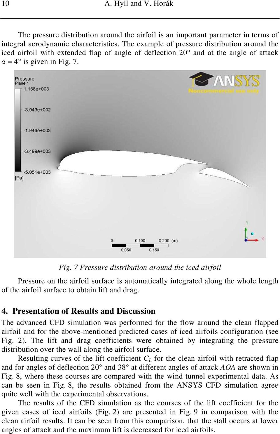 7. Fig. 7 Pressure distribution around the iced airfoil Pressure on the airfoil surface is automatically integrated along the whole length of the airfoil surface to obtain lift and drag. 4.
