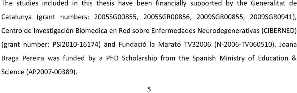 Enfermedades Neurodegenerativas (CIBERNED) (grant number: PSI2010-16174) and Fundació la Marató TV32006