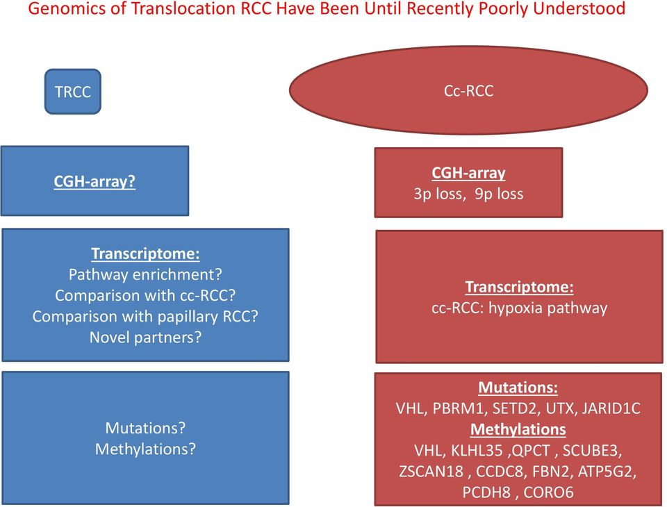 Comparison with papillary RCC? Novel partners? Transcriptome: cc-rcc: hypoxia pathway Mutations?