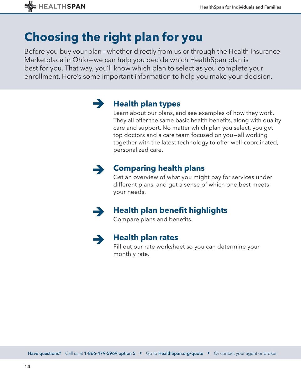 Health plan types Learn about our plans, and see examples of how they work. They all offer the same basic health benefits, alon with quality care and support.