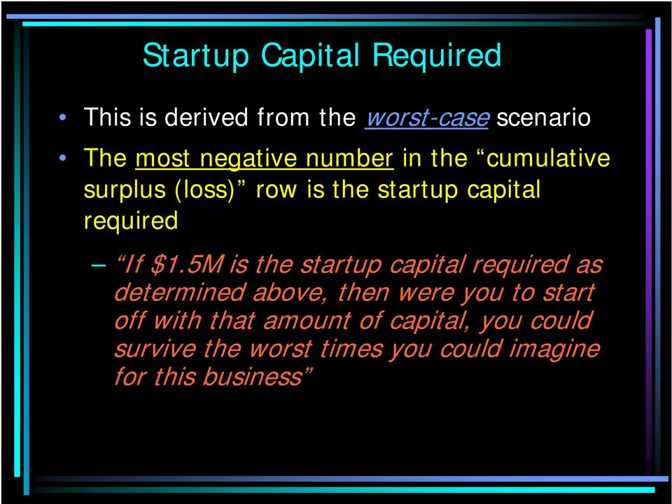 5M is the startup capital required as determined above, then were you to start off with