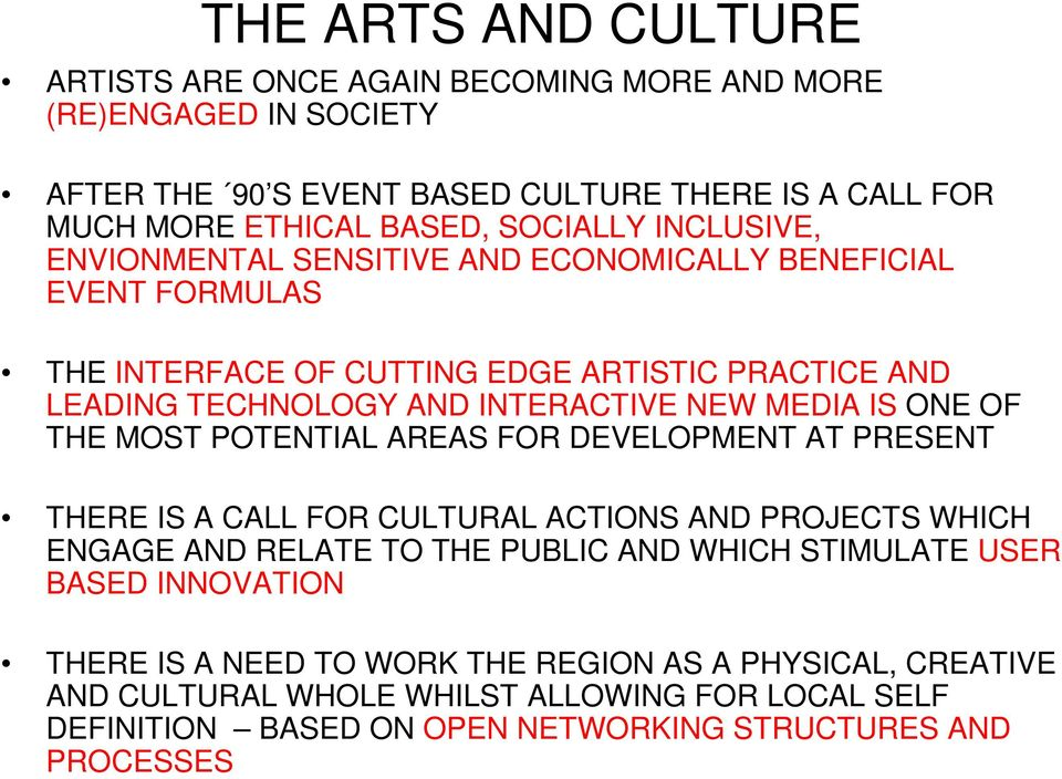ONE OF THE MOST POTENTIAL AREAS FOR DEVELOPMENT AT PRESENT THERE IS A CALL FOR CULTURAL ACTIONS AND PROJECTS WHICH ENGAGE AND RELATE TO THE PUBLIC AND WHICH STIMULATE USER BASED