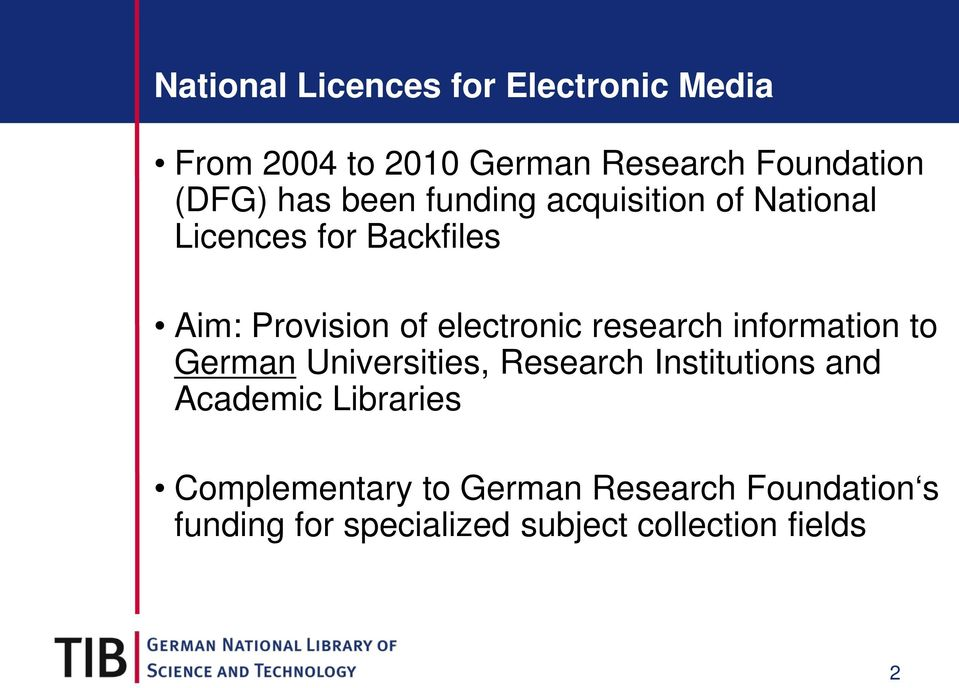 research information to German Universities, Research Institutions and Academic Libraries