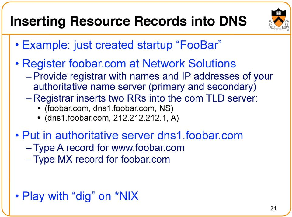 secondary) Registrar inserts two RRs into the com TLD server: (foobar.com, dns1.foobar.com, NS) (dns1.foobar.com, 212.