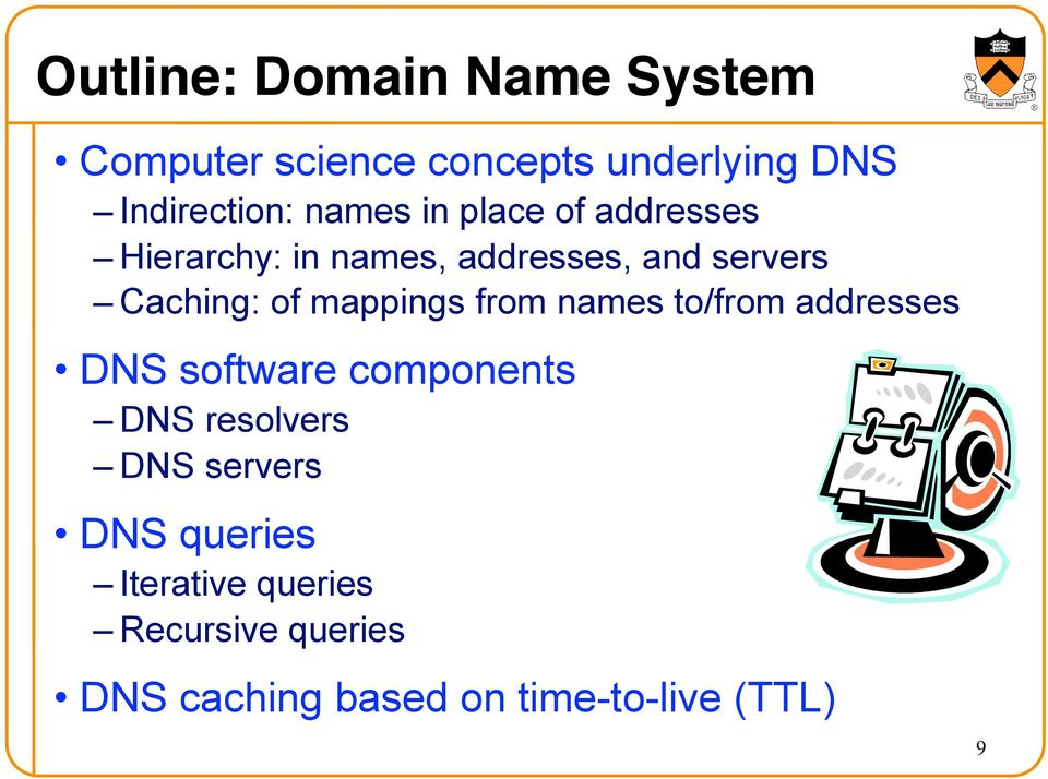 mappings from names to/from addresses DNS software components DNS resolvers DNS