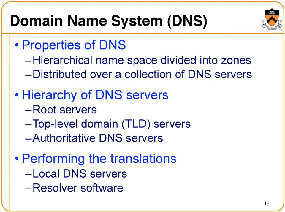 Hierarchy of DNS servers Root servers Top-level domain (TLD) servers