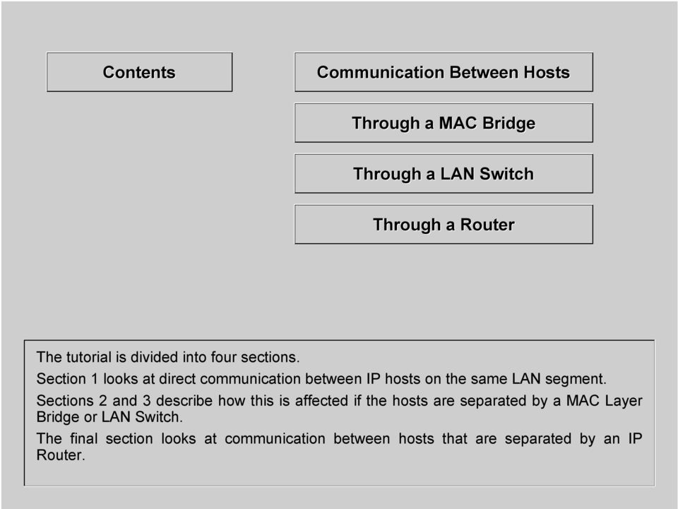 Section 1 looks at direct communication between IP hosts on the same LAN segment.