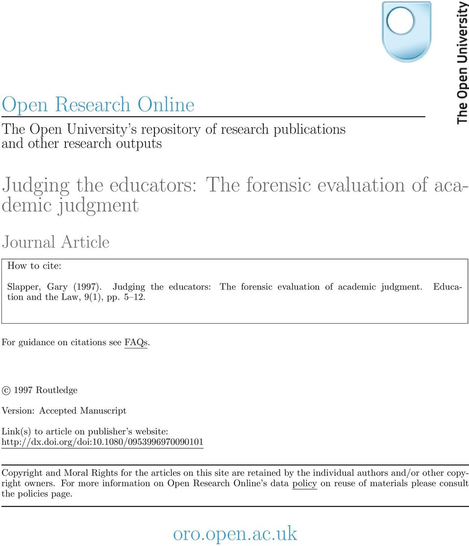 c 1997 Routledge Version: Accepted Manuscript Link(s) to article on publisher s website: http://dx.doi.org/doi:10.