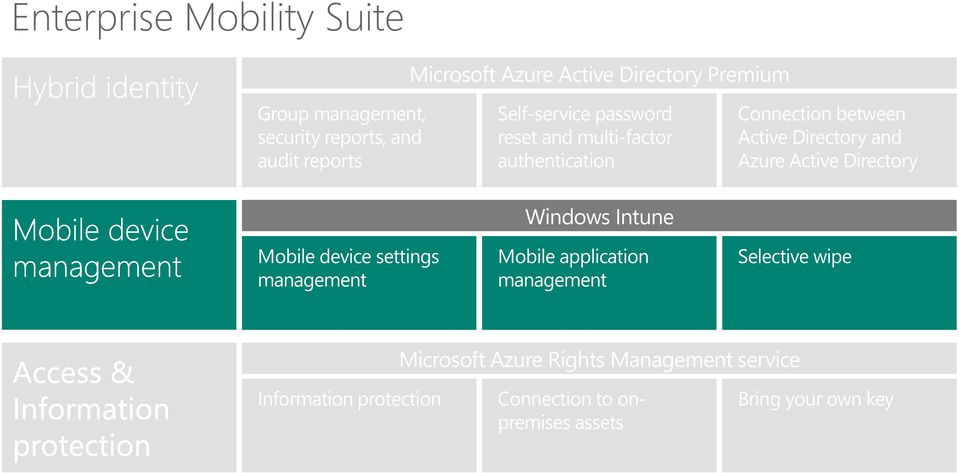 Active Directory Mobile device settings management Windows Intune Mobile application management Selective wipe