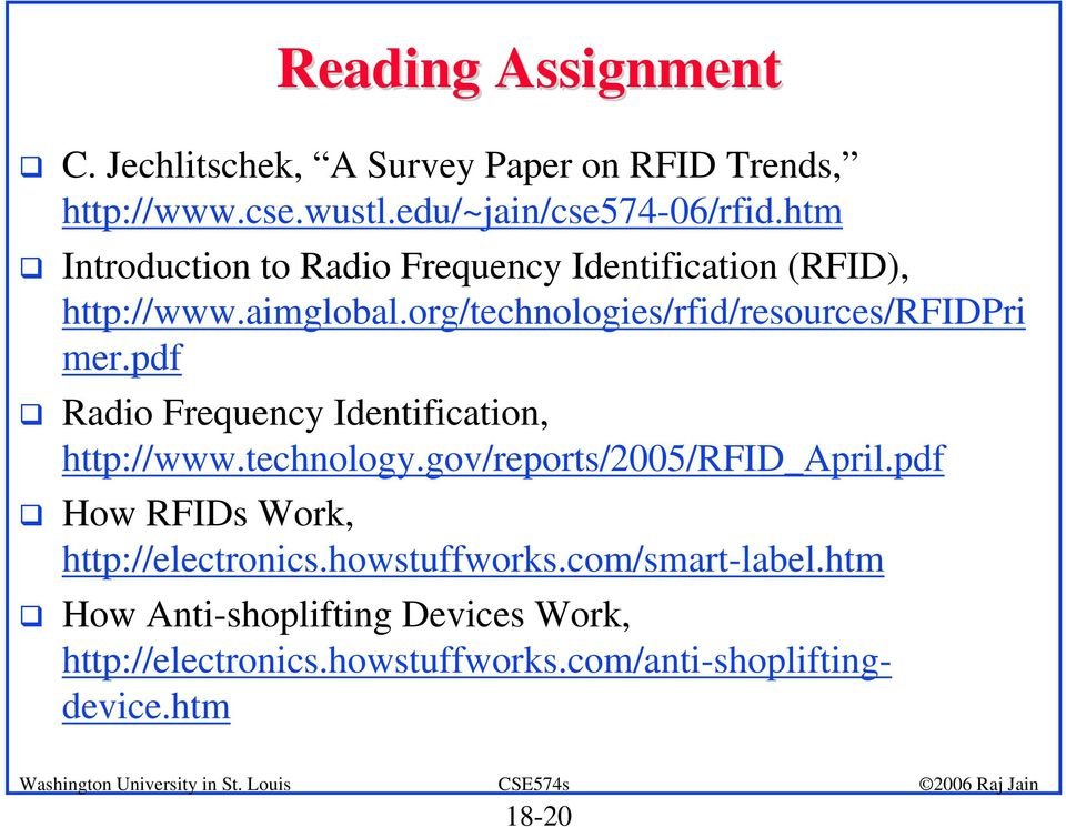 Radio Frequency Identification, http://www.technology.gov/reports/2005/rfid_april.pdf! How RFIDs Work, http://electronics.