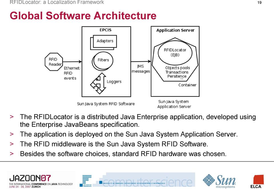 The application is deployed on the Sun Java System Application Server.