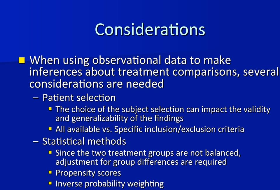 generalizability of the findings All available vs.