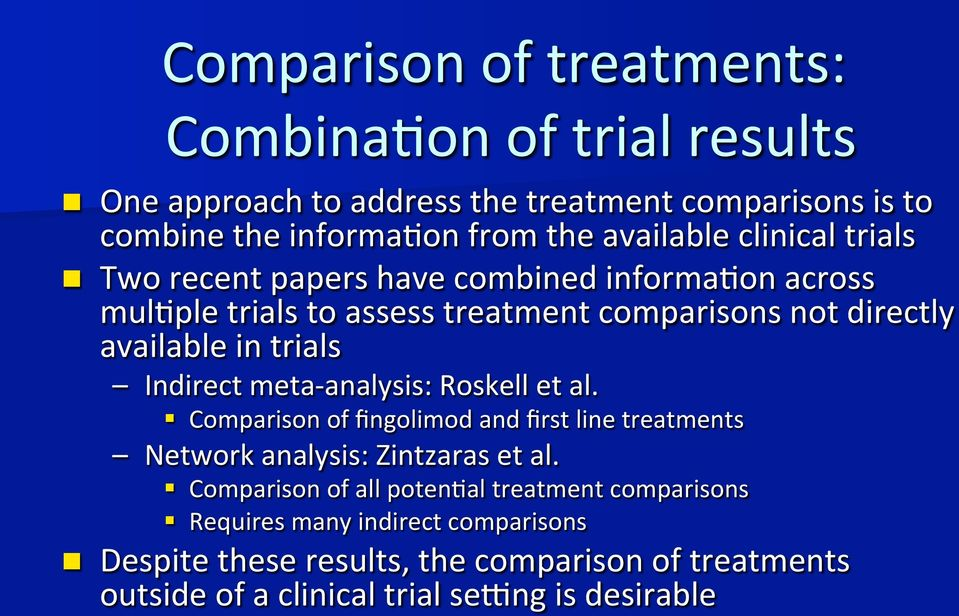 trials Indirect meta- analysis: Roskell et al. Comparison of fingolimod and first line treatments Network analysis: Zintzaras et al.