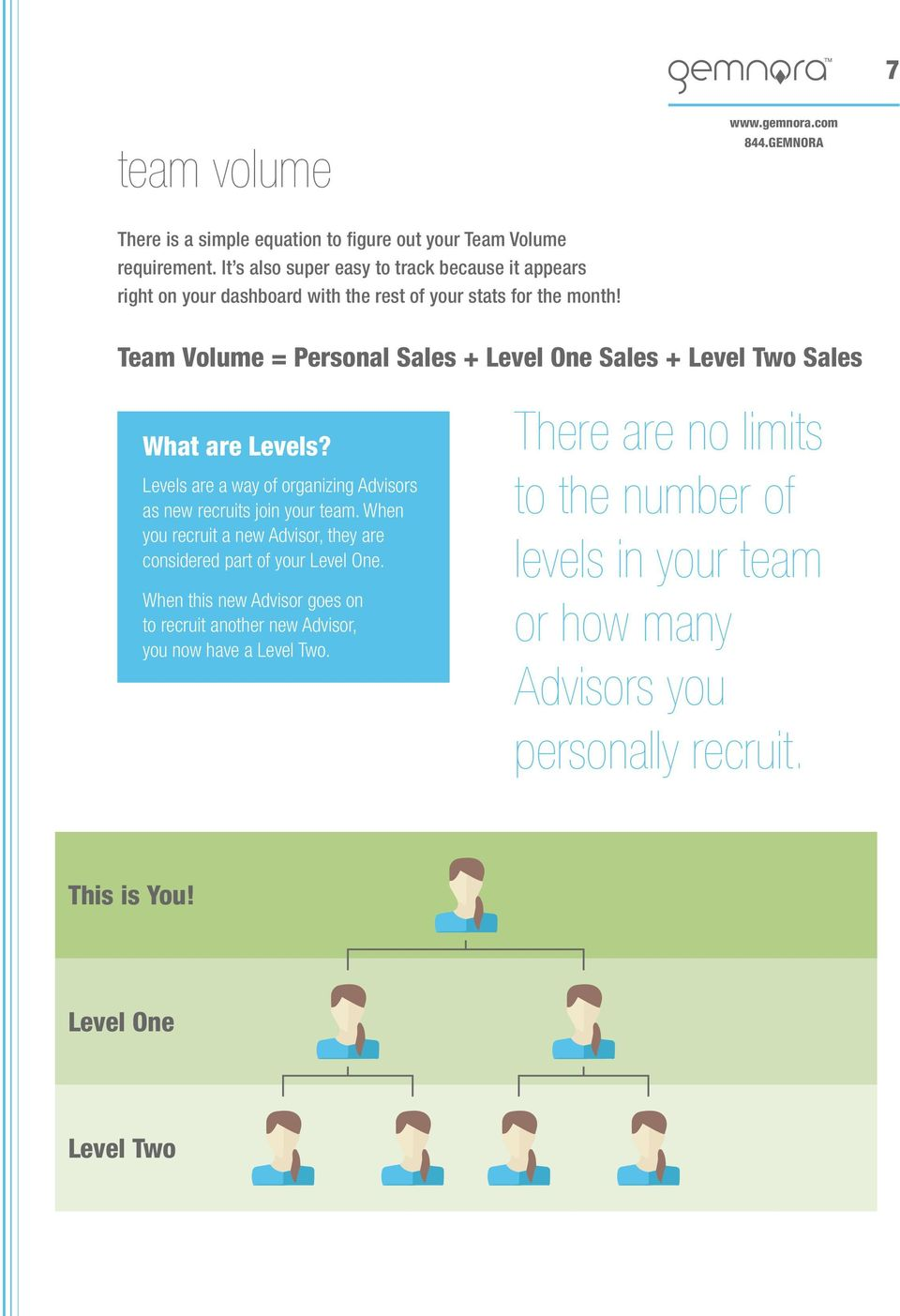 Team Volume = Personal Sales + Level One Sales + Level Two Sales What are Levels? Levels are a way of organizing s as new recruits join your team.