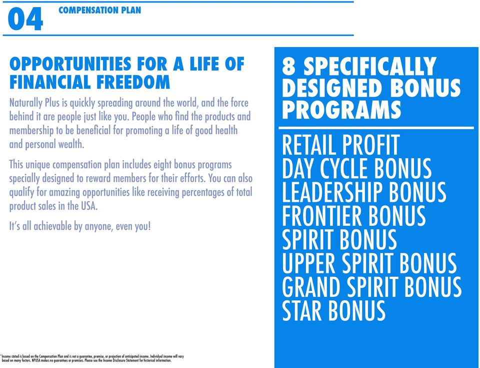 This unique compensation plan includes eight bonus programs specially designed to reward members for their efforts.