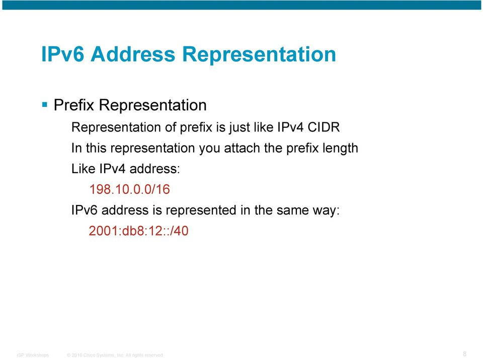 representation you attach the prefix length Like IPv4