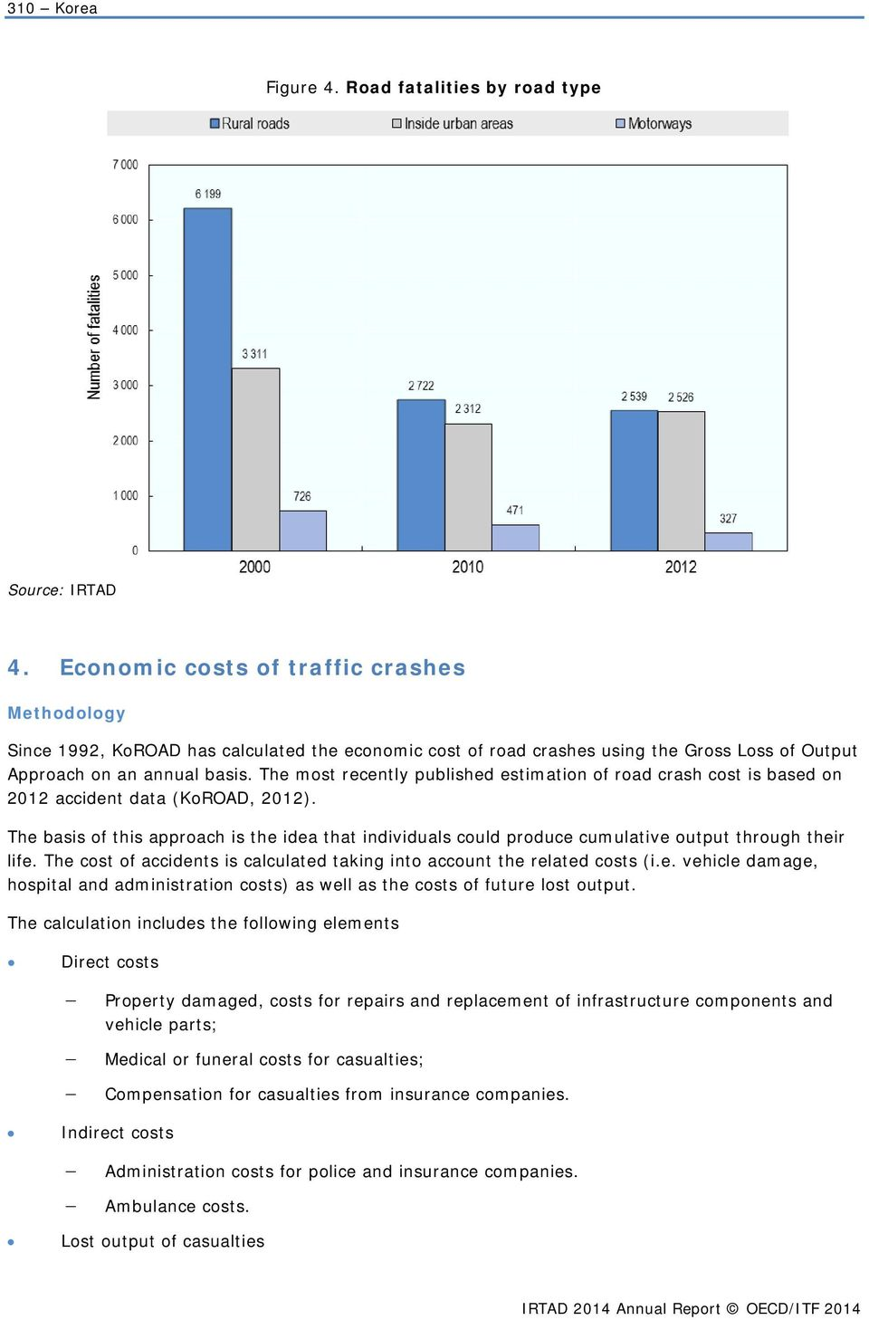 The most recently published estimation of road crash cost is based on 2012 accident data (KoROAD, 2012).
