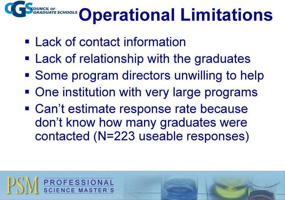help One institution with very large programs Can t estimate response