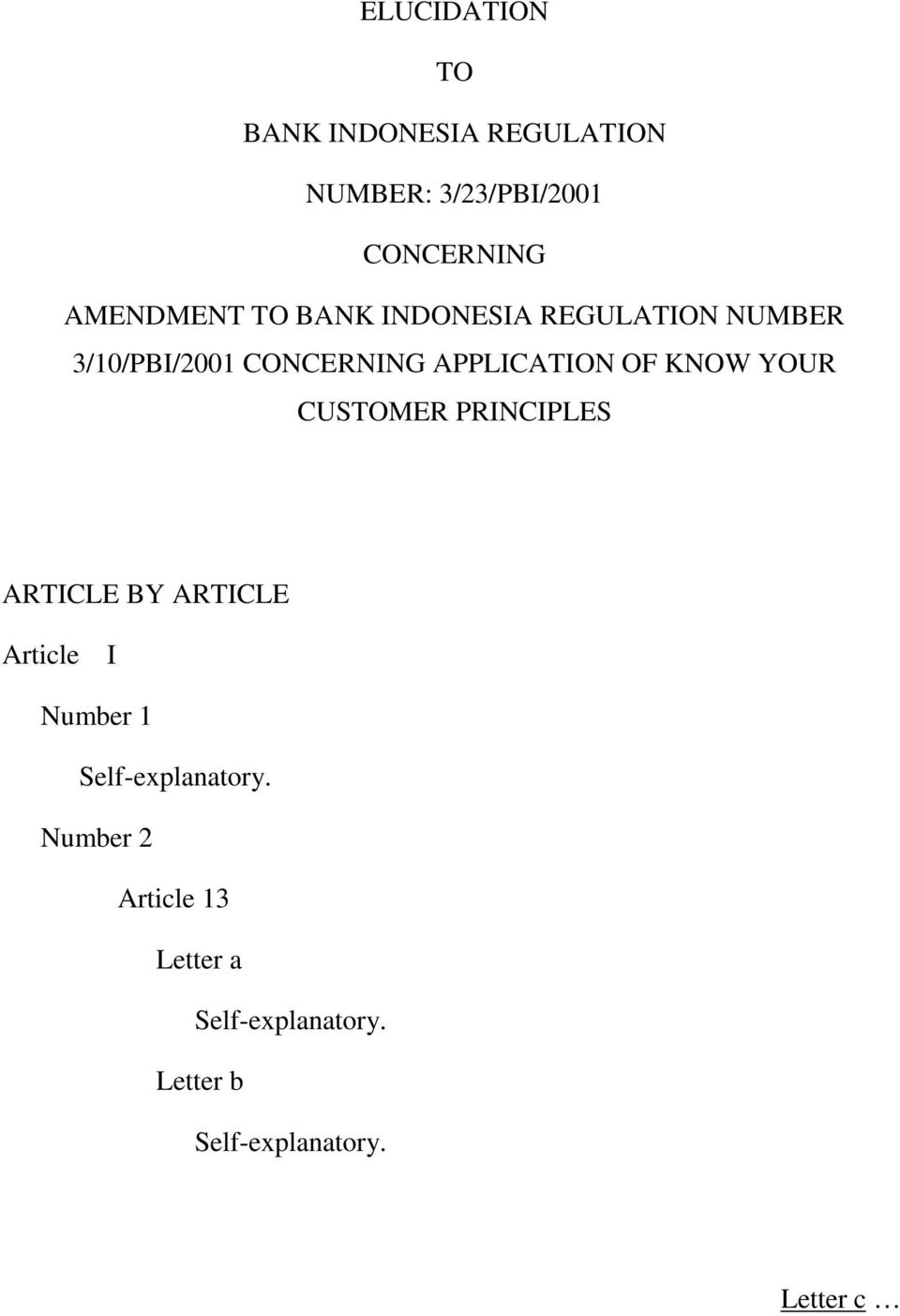 3/10/PBI/2001 CONCERNING APPLICATION OF KNOW YOUR CUSTOMER