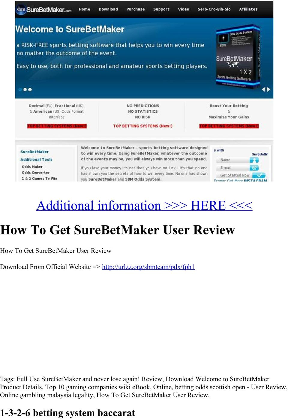 Review, Download Welcome to SureBetMaker Product Details, Top 10 gaming companies wiki ebook, Online, betting odds