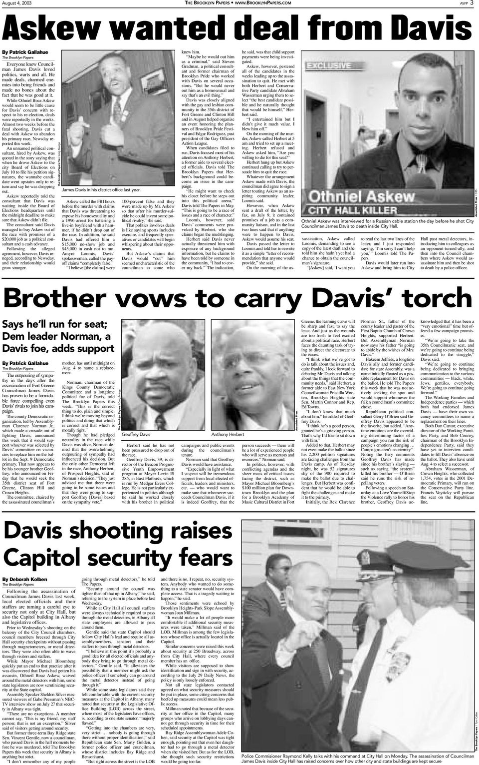 While Othniel Boaz Askew would seem to be little cause for Davis concern with respect to his re-election, deals were reportedly in the works.