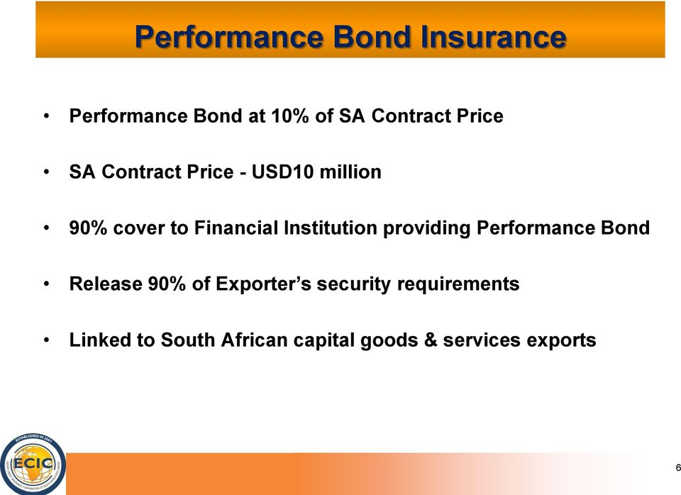 Institution providing Performance Bond Release 90% of Exporter s