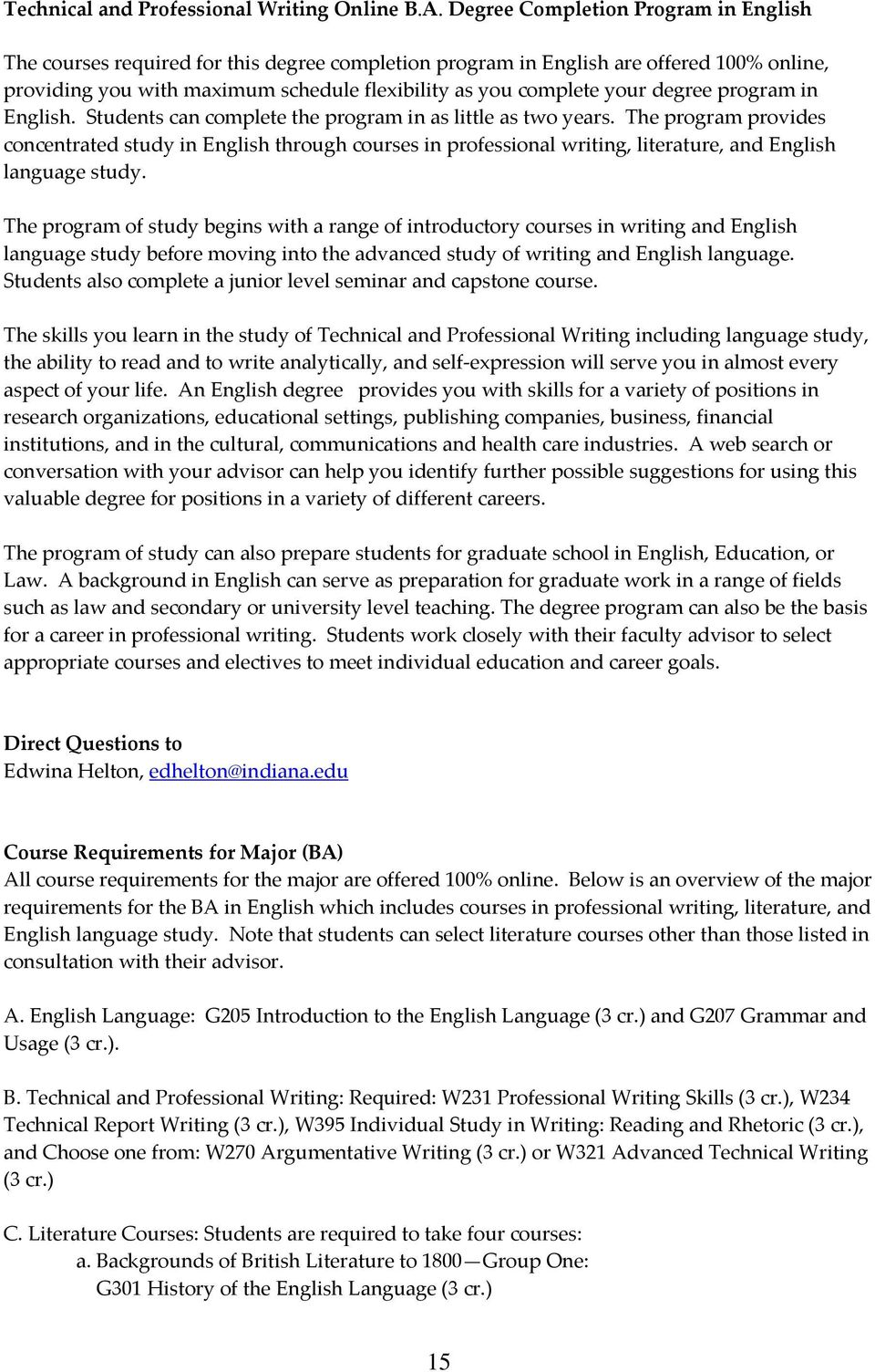 degree program in English. Students can complete the program in as little as two years.