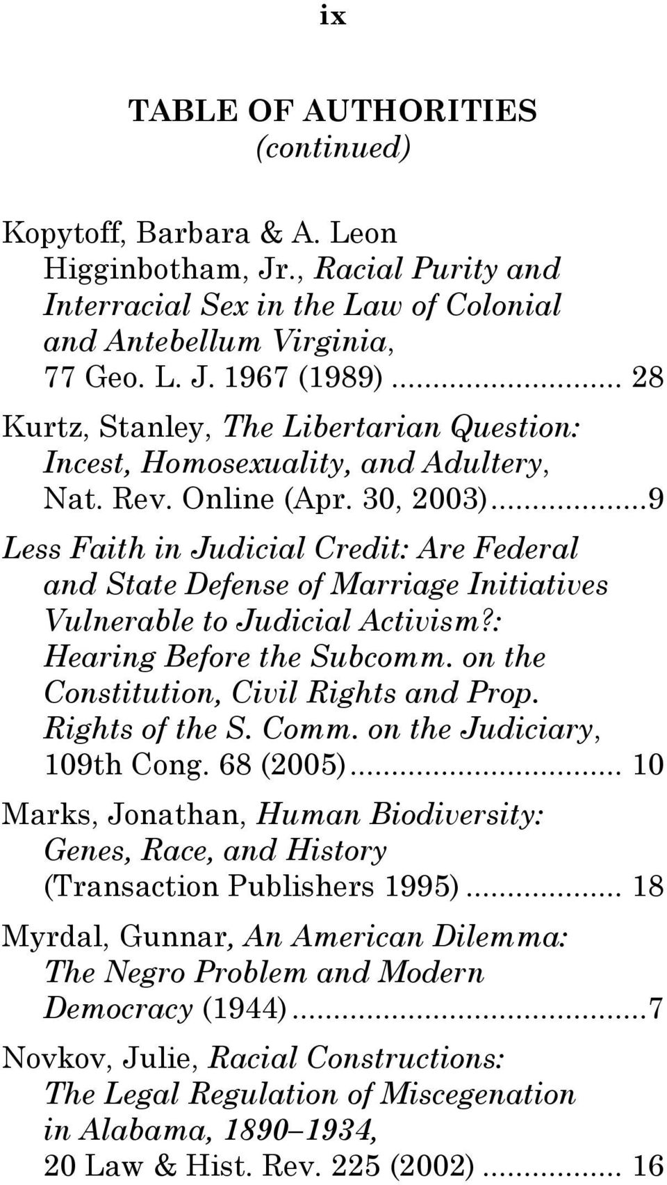 ..9 Less Faith in Judicial Credit: Are Federal and State Defense of Marriage Initiatives Vulnerable to Judicial Activism?: Hearing Before the Subcomm. on the Constitution, Civil Rights and Prop.